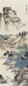 云峰积翠图 (landscape) by qi kun