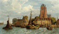 a view of dordrecht from the water with the grote kerk in the background by fedor poppe