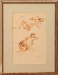 study no. 1 with two reclining nudes by raphael soyer