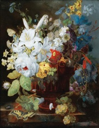 nature morte au bouquet de fleurs sur un entablement by georg frederik ziesel
