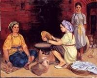femmes kabyles préparant le pain by jean eugène bersier