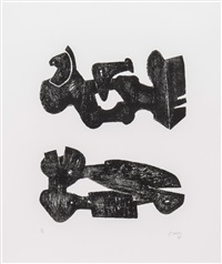two black forms metal figures (c.307) by henry moore