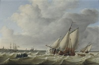 sailing vessels in choppy seas by jan hendrik boshamer
