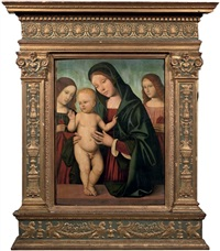 the madonna and child with angels by giacomo raibolini