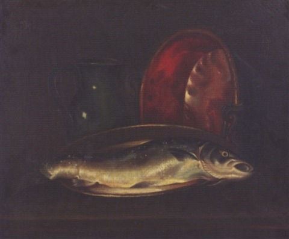 nature morte à la bassine de cuivre broc de terre et poisson by juliette felix