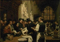 feeding the hungry after the lord mayor's banquet, interior of guildhall by marie adrien-emmanuel
