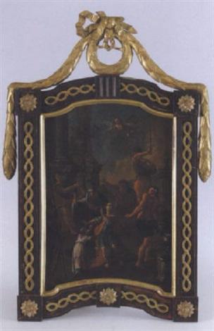 martyrium eines jugendlichen heiligen vor einem römischen kaiser heidnischen priestern und der statue der göttin artemisdiana by austrian school german 18