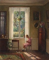 interior with a knitting girl by hans hilsoe