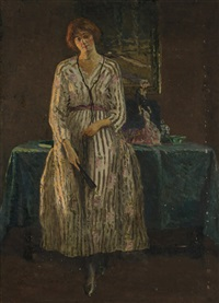 interior, lady with a fan by american school (20)