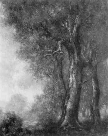 view of trees and glade by carl henry von ahrens