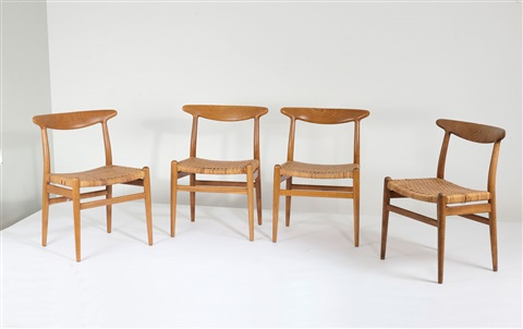 vier st hle w2 4 works by hans j wegner on artnet. Black Bedroom Furniture Sets. Home Design Ideas