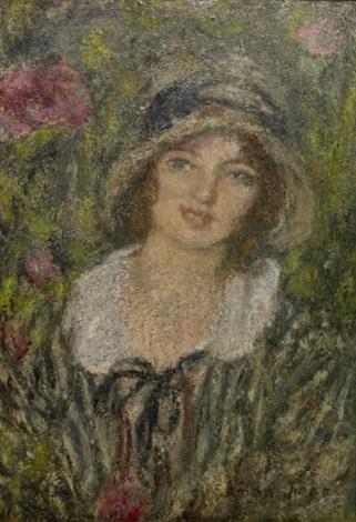 jeune femme au chapeau by edmond françois aman jean