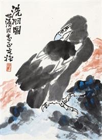 洗羽图 立轴 设色纸本 by li kuchan
