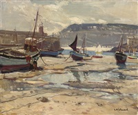 st. ives harbour at low tide by leonard richmond