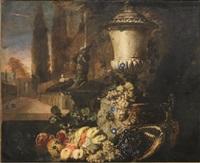 composizione di frutta con vaso e fontana con tritone in un giardino by david de coninck