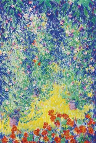 flowers in a garden by theodore earl butler
