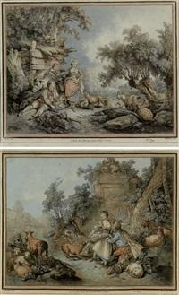 gandes pastorales (2 works after j.-b. huet) by gilles-antoine demarteau