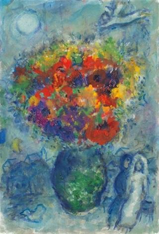 bouquet dans le vase vert by marc chagall