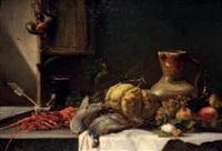 fruits, pichet, moulin à café, perdrix, homard et gousse d'ail by camille flers