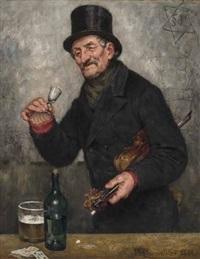 mann mit zylinder und violine unter dem arm hält lachend ein schnapsglas in der hand und ein volles bierglas nebst branntweinflasche auf dem tisch by paul burmeister