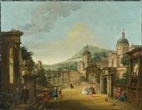 vue d'une ville imaginaire animée de personnages by francesco battaglioli