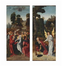 the ascension of christ; elijah fed by the angel in the desert (2 works) by antwerp school