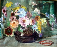 still life of flowers in a vase by colin cairness clinton campbell