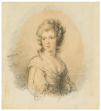 portrait of georgiana duchess of devonshire (+ portrait of lady elizabeth foster; pair) by ozias humphry