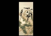 pica pica on the old pine by ogata gekko