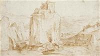 forteresse dans un paysage rocheux (+ personnages, verso) by ercole setti