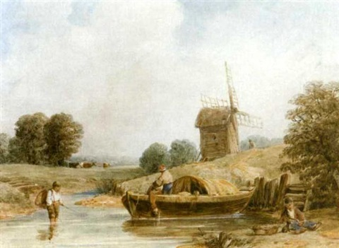 by the windmill barges on a river 2 works by samuel austin