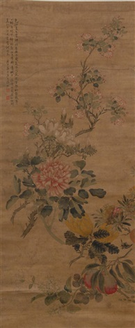 floral scene with branches by anonymous chinese 18