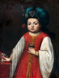 portrait d'un jeune italien costumé à l'orientale by antonio mercurio amorosi