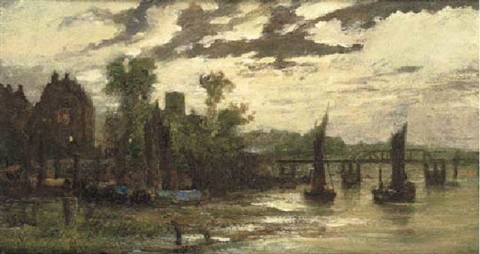 cheyne walk and chelsea old church by battersea old bridge by cecil gordon lawson