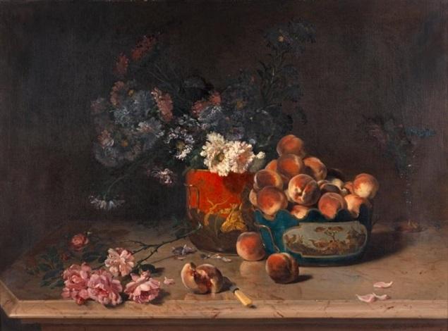 nature morte de fleurs et de fruits dans des rafraîchissoirs en tôle peinte by philippe rousseau
