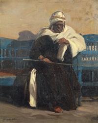 homme assis sur un banc bleu by carl oscar borg