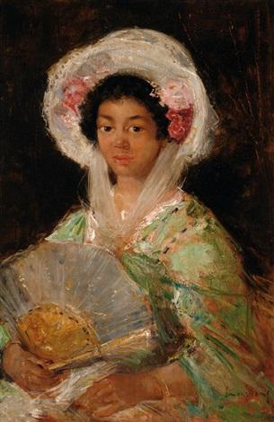 Portrait Of Mrs. Allwood With A Fan By Simon Maris