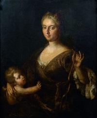 portrait de jeune femme en vénus avec cupidon by nicolas fouche