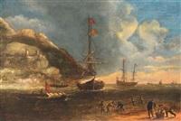 pêcheurs de crevettes devant des navires près d'une côte rocheuse by caspar van eyck