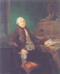 portrait of a gentleman seated at a desk reading cicero's treatise on friendship by luis alcázar y paret
