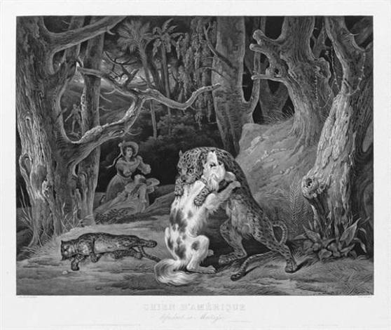 chien damérique défendant sa maîtresse after hippolyte lecomte by jean pierre marie jazet