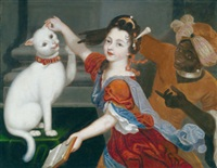 eine junge dame beim spiel mit ihrer katze, rechts ein mohrenpage by jacques-françois courtin