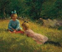 girls playing on a hillside by lee lufkin kaula