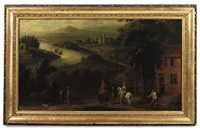 a river landscape with horsemen resting on a track before a cottage by peter tillemans