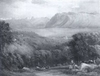 figures and cattle before a north italian or swiss lake by henry gastineau