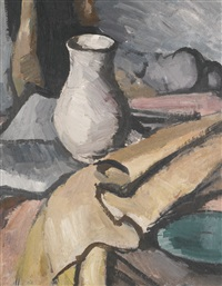 still life with a white vase by samuel john peploe