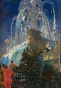 jeux d'eau et fontaine à rome by albert besnard