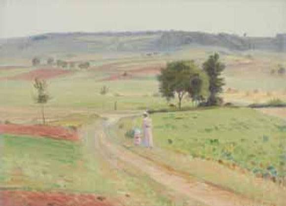 promeneuse et enfant à la campagne by charles victor guilloux