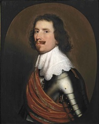 portrait of a nobleman, half-length, in armor with a white lace collar and an orange sash, in a painted oval by gerrit van honthorst