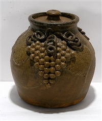 early grape decorated large bean pot with lid by lanier meaders